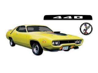 1971 Plymouth Road Runner 440 COMPLETE REFLECTIVE Decals Stripes Kit   REFLECTIVE BLACK Automotive