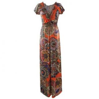Gamiss?Women's Fashionable Ethnic Style Plunging Neck Slimming Maxi Dress, Orange, Regular Sizing 2