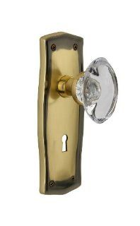 Nostalgic Warehouse PRAOCC 11 AB Prairie Plate with Oval Clear Crystal Knob and Keyhole, Antique Brass   Doorknobs