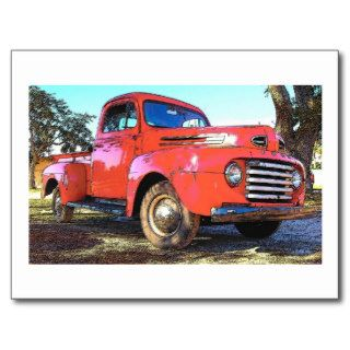 Antique Red Ford Truck Post Cards