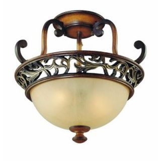 Hampton Bay Caffe Patina 2 Light Semi Flush Mount 16008