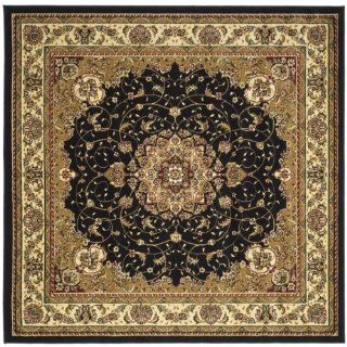 Safavieh LNH329A Lyndhurst Collection Black and Ivory Square Area Rug, 6 Feet