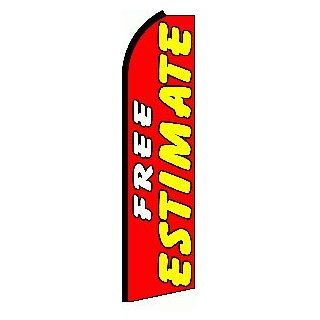 "NEOPlex   ""Free Estimate Extra Wide"" Swooper Feather Flag  Business And Store Signs"