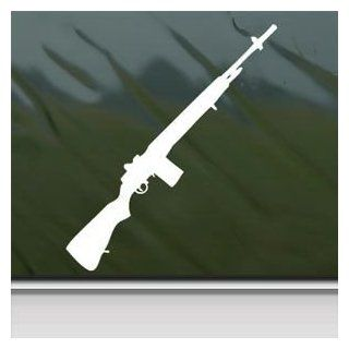M14 Rifle 7 White Sticker Decal Car Window Wall Macbook Notebook Laptop Sticker Decal   Decorative Wall Appliques