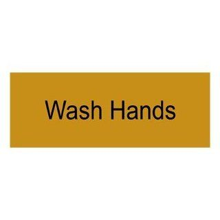 Wash Hands Black on Gold Engraved Sign EGRE 366 BLKonGLD Hand Washing  Business And Store Signs