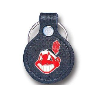 MLB Cleveland Indians Leather Key Chain  Sports Related Key Chains  Sports & Outdoors