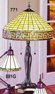 "Greek Key Table Lamp New Handcrafted Tiffany Style (Caramel/Green) (25""H x 16""W)"