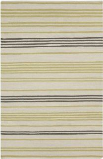 5' x 8 Molti Colpi Yellow Green and White Wool Hand Woven Wool Area Throw Rug   Handmade Rugs