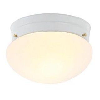 Hampton Bay 1 Light White Mushroom Flushmount 385 303   Close To Ceiling Light Fixtures