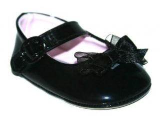 Infant Baby Girls Patent Bow Mary Janes Dress Wedding Shoes (0, Black) Shoes