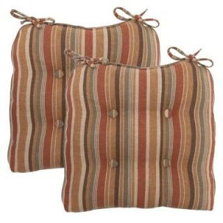 Hampton Bay Cayenne Stripe Deluxe Tufted Outdoor Chair Cushion (2 Pack) 7358 02003600