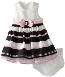 Bonnie Baby Baby Girls Infant Shantung Stripe Dress, Pink, 12 Infant And Toddler Special Occasion Dresses Clothing