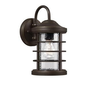 Sea Gull Lighting Sauganash 1 Light Outdoor Antique Bronze Wall Lantern with Clear Seeded Glass 8524401 71