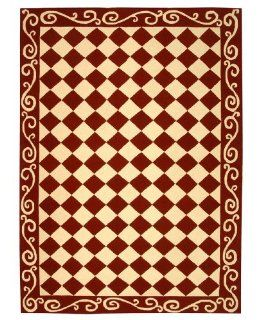 Safavieh Chelsea Collection HK711C 6 Hand Hooked Burgundy and Ivory Wool Area Rug, 6 Feet by 9 Feet   Checker Board Carpet