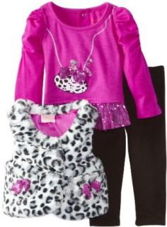 Nannette Baby Girls Infant 3 Piece Leopard Print Vest with Shirt and Pant, Purple, 12 Months Clothing