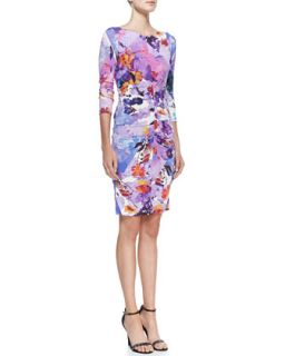 Womens Jersey Floral Print Scoop Neck Dress   Nicole Miller