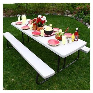 Lifetime 8' Folding Picnic Table Lightweight, Durable, and Stain Resistant  Patio, Lawn & Garden