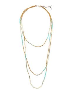 Layered 3 Strand Necklace, Light Blue/Multi