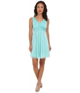 Adrianna Papell V Neck Chiffon Cocktail Dress Womens Dress (Green)