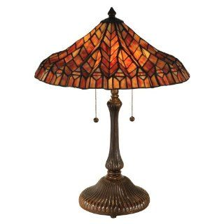 Dale Tiffany TT13059 Red Lotus Table Lamp, Antique Bronze
