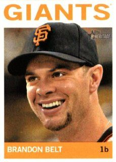 2013 Topps Heritage MLB Trading Card # 390 Brandon Belt San Francisco Giants Sports Collectibles