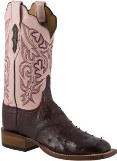 LUCCHESE 2000 T1705 Womens Cowboy Cowgirl Ostrich Leather Western Boots Pink/Black Cherry Shoes
