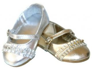 Infant Baby Girls Rhinestone Metallic Silver or Gold Mary Janes Shoes (0, Gold) Infant And Toddler Dress Shoes Shoes