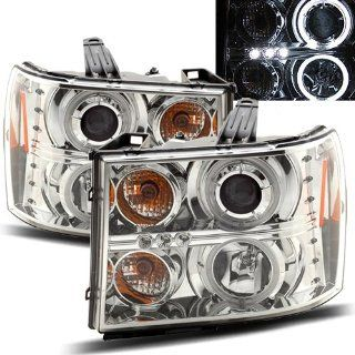 GMC Sierra Chrome CCFL Halo Projector Headlights /w Amber Automotive