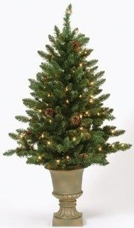 4' Pre Lit Indoor/Outdoor Freemont Christmas Potted Topiary Tree with Pine Cones   Christmas Topiary Prelit