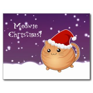 Kawaii christmas orange tabby kitty cat post card