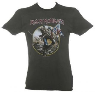 Mens Charcoal Iron Maiden Trooper T Shirt from Amplified Vintage Clothing