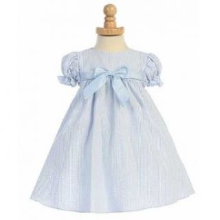 Lito Blue Striped Seersucker Bow Easter Spring Dress Baby Girls 6 24M Special Occasion Dresses Baby