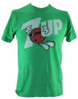 7 up Soda Pop (Seven Up a Dr. Pepper Brand) Mens T Shirt   Classic Distressed Spot Logo on Green (Large) Novelty T Shirt Clothing