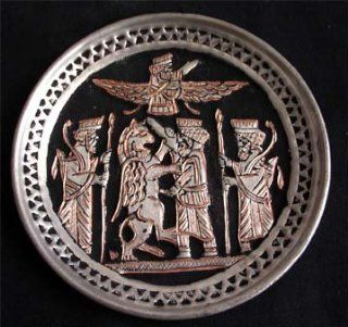 448 Persian Metal Plate Hand Etched Zoroastrian Art with Symbols of Persepolis  Other Products