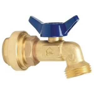 3/4 in. Brass Quarter Turn Compact Hose Bibb Valve with Push Fit Connections P182 8 34