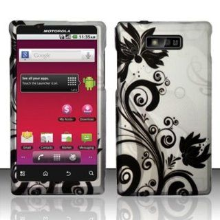 Motorola Triumph WX435 (Virgin Mobile) Black/Silver Vines Design Hard Case Snap On Protector Cover + Car Charger + Free Neck Strap + Free Magic Soil Crystal Gift Cell Phones & Accessories