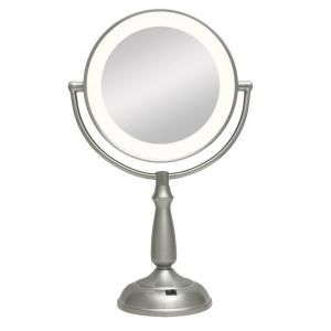 Zadro Ultra Bright LED Lighted 12X/1X Round Vanity Mirror in Satin Nickel LEDVPR412