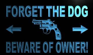 ADV PRO m456 b Forget the dog Beware Owner Gun Neon Light Sign   Beware Of Home Owner