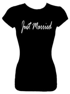 Junior's Funny T Shirt (JUST MARRIED) Wedding Bridal Party Fitted Shirt Clothing