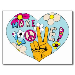 Make Love Not War ~ 60s Hippie Peace Sign Post Card
