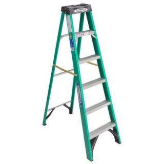 Werner 6 ft. Fiberglass Step Ladder with 225 lb. Load Capacity Type II Duty Rating FS206