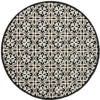 Safavieh FRS448A 6R Four Seasons Collection Indoor/Outdoor Round Area Rug, 6 Feet in Diameter, Black and Ivory