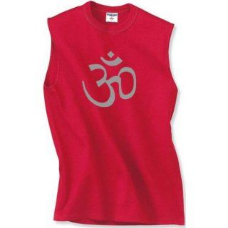 Mens Yoga Muscle T shirt   Aum Symbol Mens Sleeveless Tee Shirt Clothing