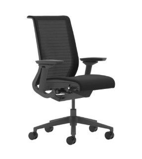 Steelcase Think 465 Work Basil Chair, 3 D Knit Back, Adjustable Arms, Black Hard Casters, Black Plastic Base