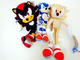 Sega Sonic The Hedgehog X Sonic, Gold Sonic and Shadow 3 Plush Doll Stuffed Toy 9  12 inches   Great gift for kids. Very Cute Toys & Games