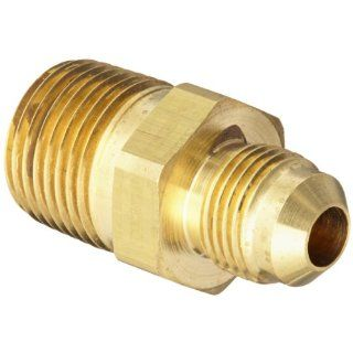 "Eaton Aeroquip 2000 8 6B Brass Flared Tube Fitting, Adapter, 3/8"" Male SAE 45 Degree x 1/2"" Male Pipe Thread"