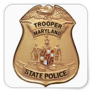 MARYLAND STATE POLICE BADGE SQUARE STICKERS
