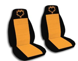 "2 Black and Orange seat covers with a ""Burning Heart"" for a 2007 Honda Fit. Side airbag friendly. Automotive"
