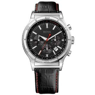 Hugo Boss Gents Chronograph Watch with Black Leather Strap Watches