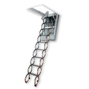 Fakro 22 in. x 47 in. x 9 ft. 10 in. Fire Rated Steel Scissor Attic Ladder with 300 lb. Load Capacity Not Rated 66858
